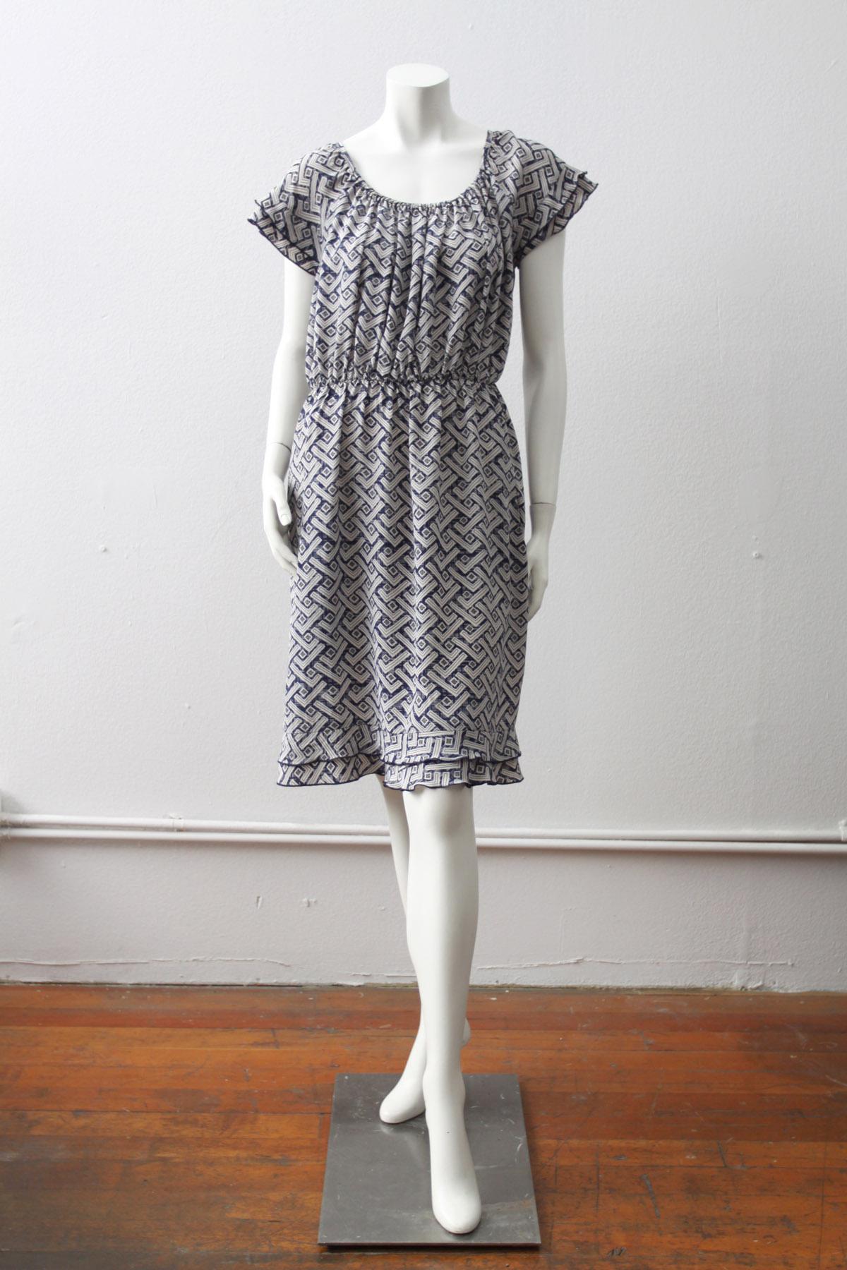 Picnic Dress in Indigo Kuba Print