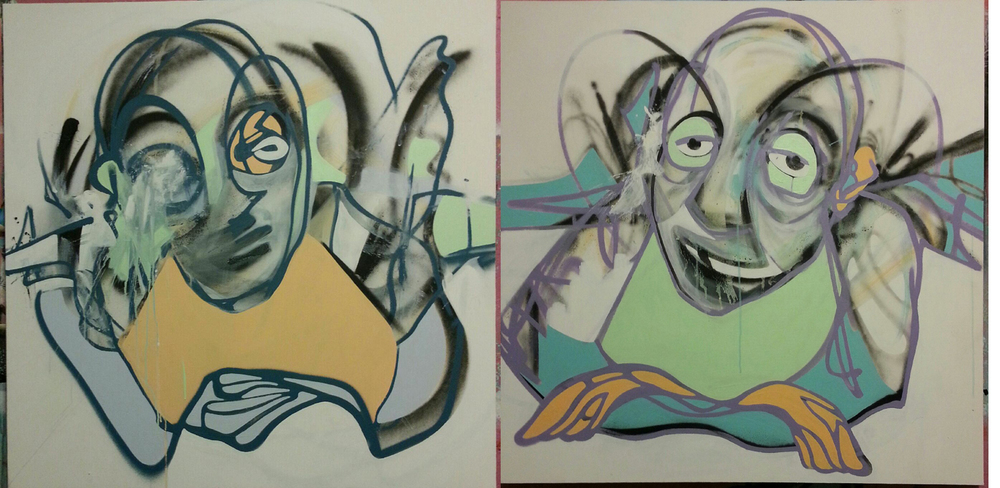 "oh, i almost forgot...i wanted to share some studio work from my current series...these two are titled ""contemplating the intricacies of inner conflict"" and ""accepting life as easy lowers expectations"""
