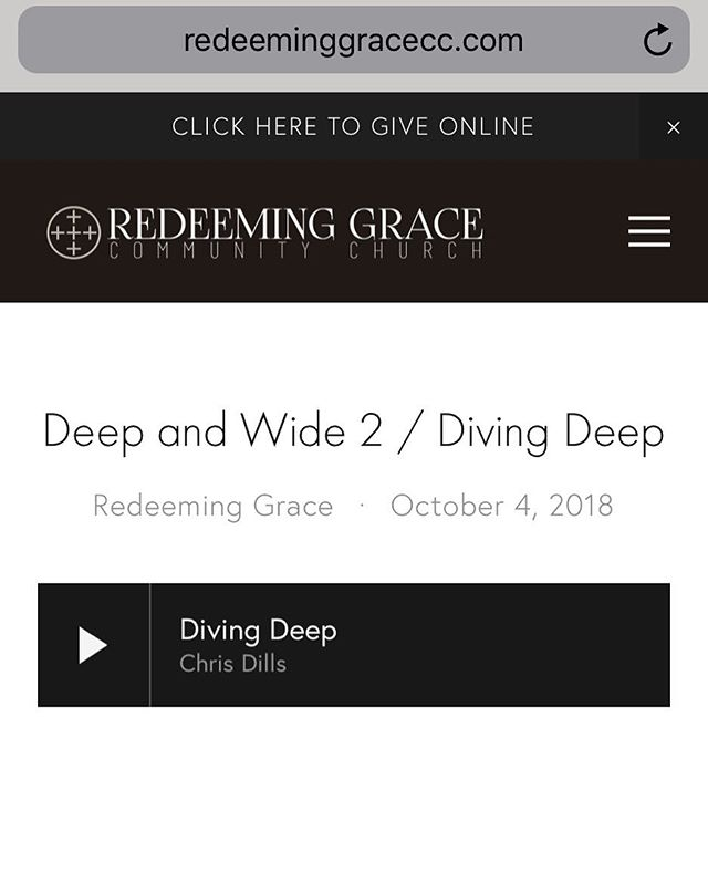 All of the @redeeminggracecc sermons are posted and up to date on our website under the resources tab or anywhere you listen to podcasts!