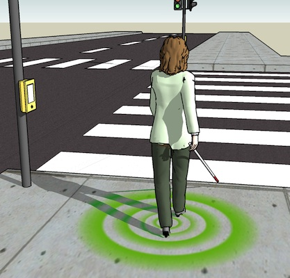 Active haptic information via walking surfaces