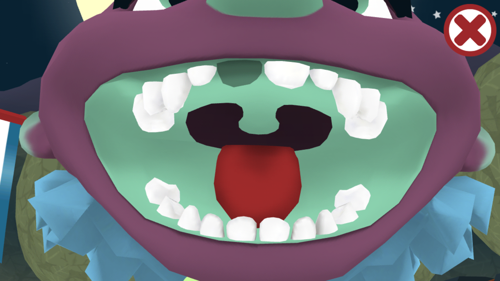 Tap the wind-up teeth for a closer look at the mouth