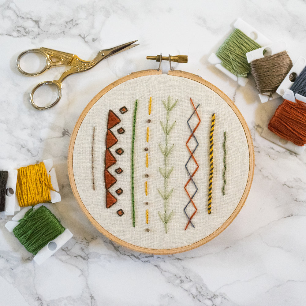 Modern Sampler Pattern - I am so excited for you to be stitching this hoop! This pattern uses eight stitches, and you will find step by step instructions for them on the following pages. The stitches you'll be using are: stem stitch, back stitch, satin stitch, fly stitch, whipped back stitch, threaded back stitch, and french knot.