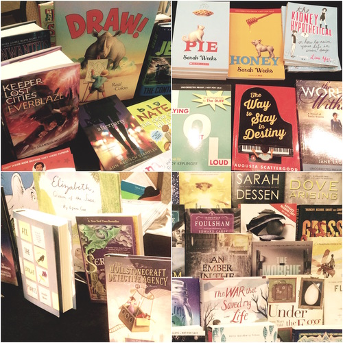 Clockwise from top left: Simon & Schuster, Scholastic, Penguin, Random House exhibits showed new and upcoming releases from each publisher
