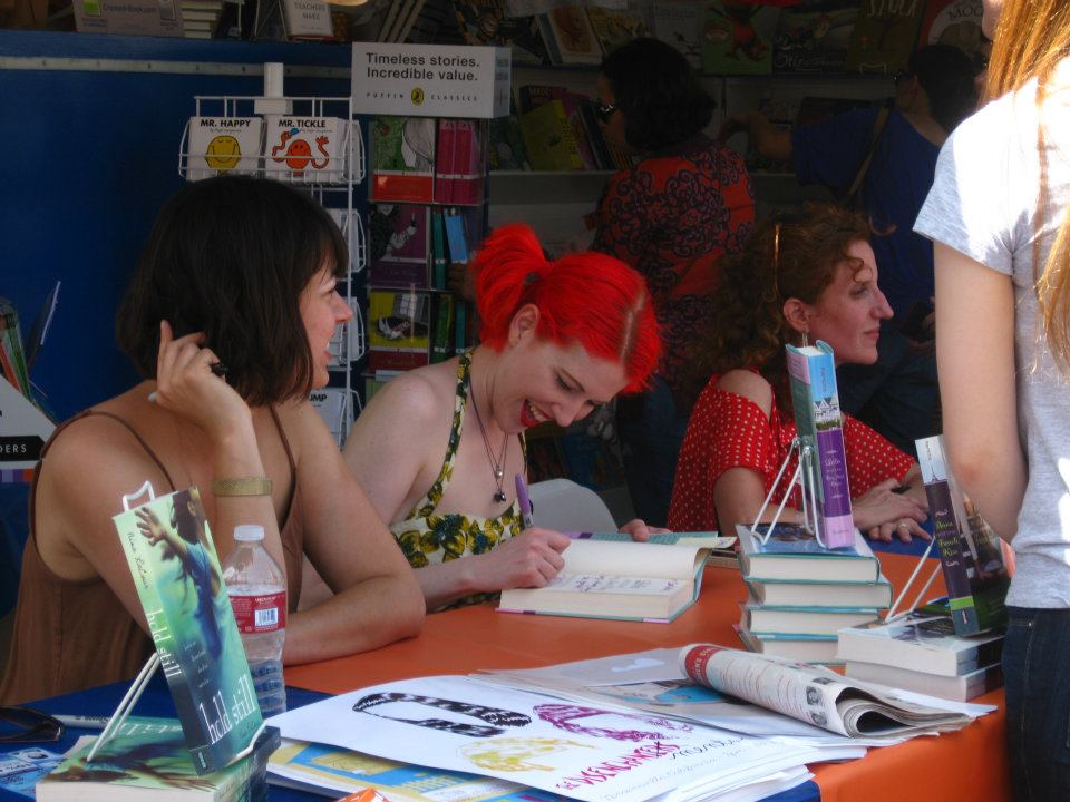 Nina LaCour, Stephanie Perkins, and Gayle Forman at LA Times Festival of Books 2012 - Mrs. Nelson's Booth (Photo credit: Thuy Lam)