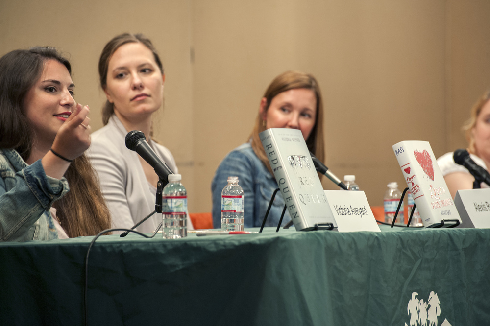 Victoria Aveyard, Alexis Bass, Virginia Boecker, and Kody Keplinger. Photo by Katie Ferguson.