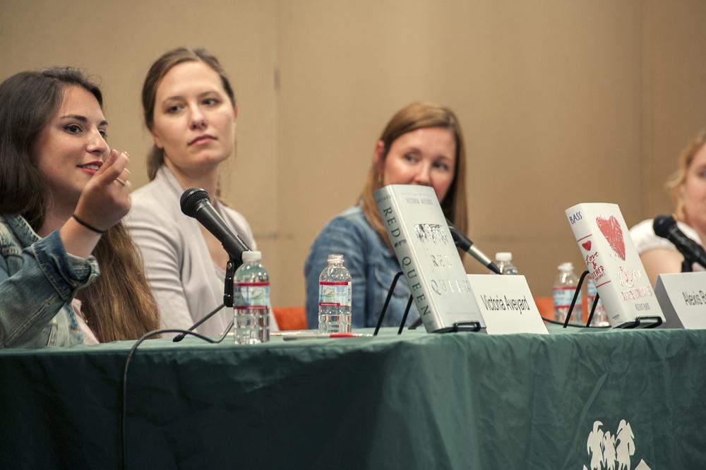 Victoria Aveyard, Alexis Bass, Virginia Boecker, and Kody Keplinger. Photo by Katie Ferguson.