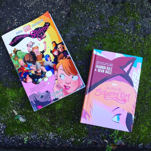Graphic novel and middle grade novel for The Unbeatable Squirrel Girl (the graphic novel was purchased by my husband when it first came out!)
