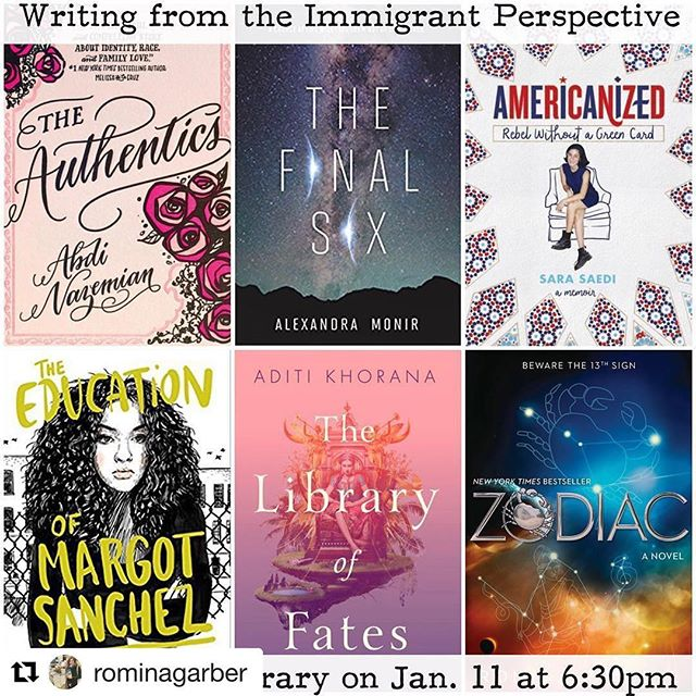 Come meet @abdaddy, @alexandramonir, @saaaranotsarah, @lilliamr, @aditi_khorana, and @rominagarber at the Studio City Branch Library! I'll be moderating! 🤩 #Repost @rominagarber (@get_repost) ・・・ SUPER excited to be on such a powerful panel with these incredible #authors in the new year, moderated by the marvelous @frootjoos! Hope to see you there!!! #authorsofinstagram #losangeles #studiocitylibrary #bookstagram #rominarussell #zodiacbooks #immigrant #latinxinpublishing #booklover #aditikhorana #lilliamrivera #alexandramonir #abdinazemian #sarasaedi