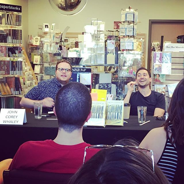 Munmun time = funfun time with @corey_whaley and @_jesse_andrews_ (ok that was lame, I'm sorry, I'll move along now) #flintridgebookstore #showmethemunmun #jesseandrews
