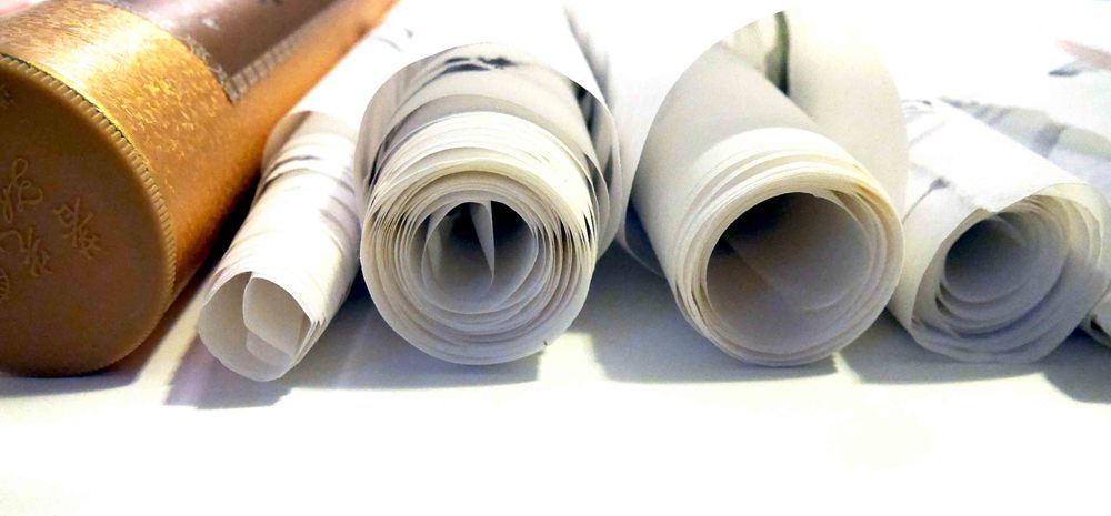 Rolls and rolls of rice paper.