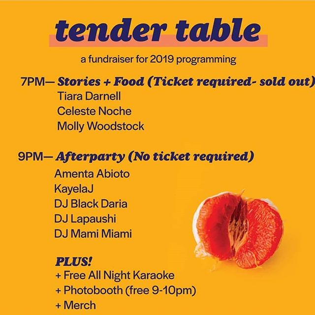 Tonight! Come celebrate your life at Tender Table's fundraising after party with lovelies @kayelaj_ @emillyp DJ Black Daria and DJ Lapaushi! @tender.table at Chapel Hill. 9pm! Free(suggested donation)
