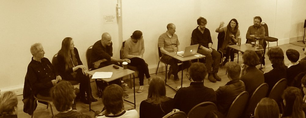 Question Time with the Trinity Laban Composition Dept. 'Dream Team'. From L to R: Stephen Montague, Deirdre Gribbin, Sam Hayden, Laura Jurd, Dominic Murcott, John Lely, Soosan Lolavar, John Ashton Thomas. Not present were Errollyn Wallen, Paul Newland, Nye Parry.