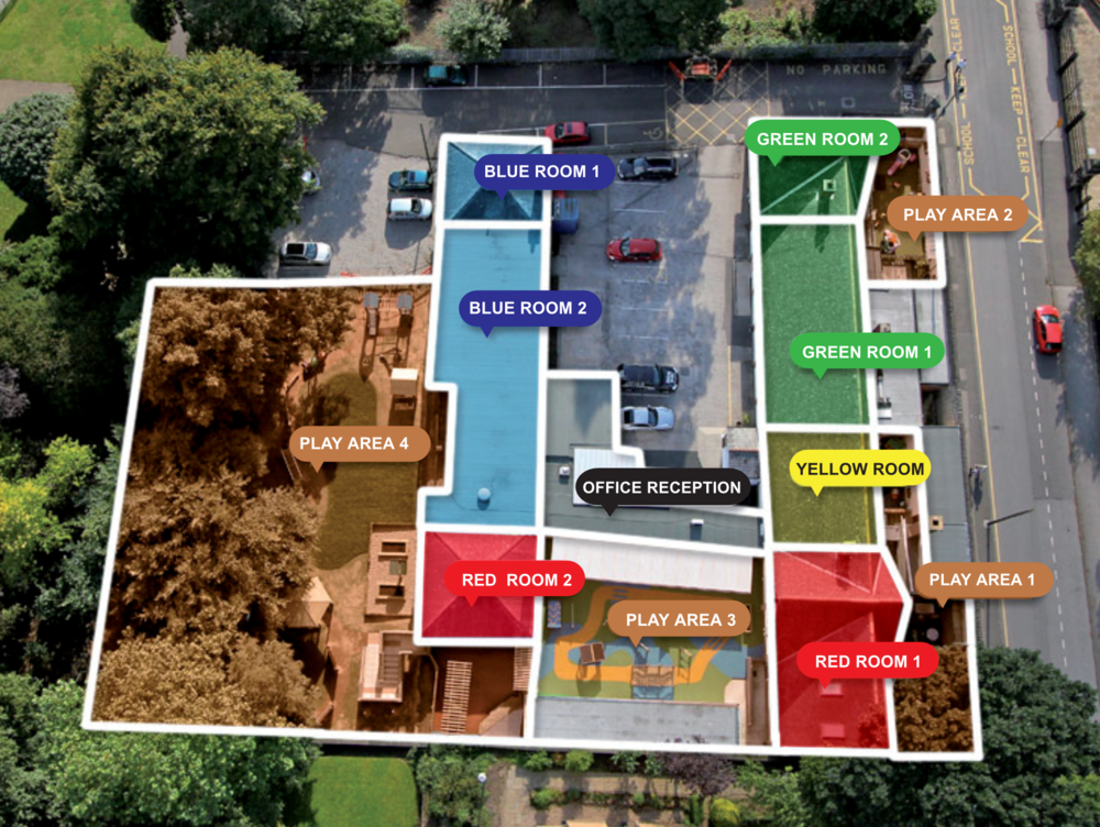 Stepping Stones Nursery in Nottingham: 7 ground floor rooms, suited to age. 4 secure outdoor play areas.