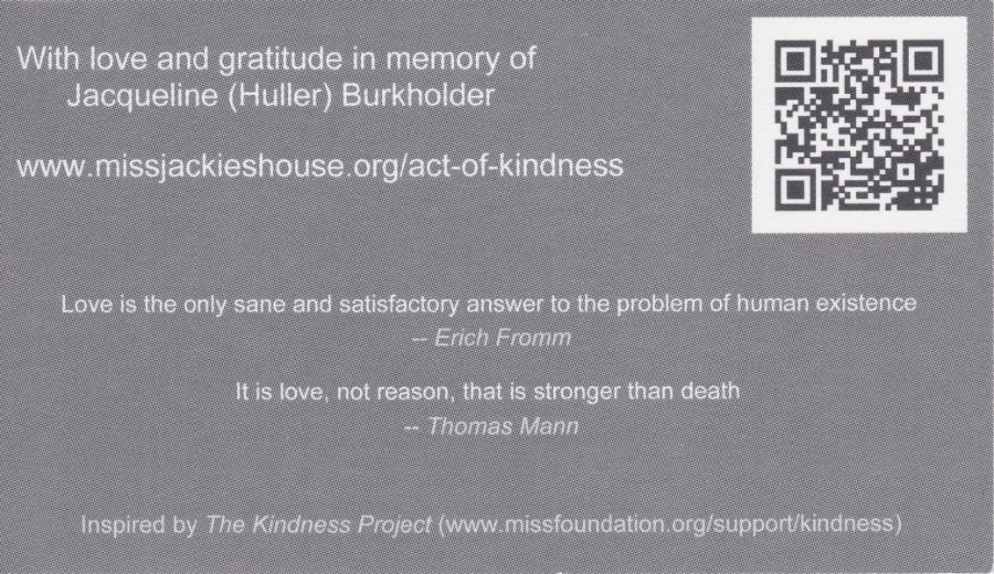 Jacqueline Burkholder - Kindness Card (back)