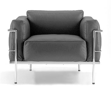 CO21: 1927-28  |                                        Le Corbusier                                       Club chair with tubular steel frame in epoxy enamel or polished chrome. Removable cushions in foam and down. Upholstery in leather or fabric.