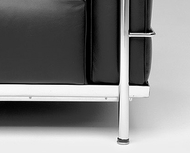 CO42: 1927-28  |                                        Le Corbusier                 Two seat sofa with tubular steel frame in epoxy enamel or polished chrome. Cushions in expanded foam and polyester fiber. Removable upholstery in leather or fabric.