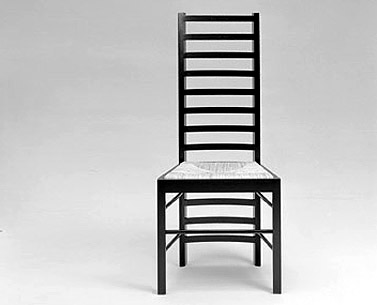 "MA04:  1904  |                                      Charles Rennie Mackintosh                          Side chair with frame in black laquered ash. Seat in woven straw or upholstered in expanded foam covered in velvet, fabric or leather.   This chair was designed to be used in different areas of the Willow Street Tea Rooms and probably represents the most ""evolved"" version of the stave-back chairs designed and produced by Mackintosh. The ladder-back design is characteristic of different chairs made by Mackintosh, from the one designed for David Gauld's bedroom in 1893, to the one produced in 1901 for Windyhill, Kilmalcolm, both of which were more traditional in style. This new edition faithfully respects the original one designed for the Willow Street Tea Rooms, and does not include a modification which was added to all models after a certain period of use, the insertion of a reinforcement in the rear part of the chair's back.This type of modification was made several times on Mackintosh's furniture, which was often repaired, at times reinforced and in some cases reproduced without the designer being informed.In the case of this chair, no information exists documenting any involvement or authorization by the author for the subsequent modifications."