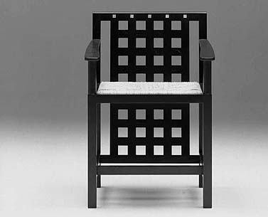 MA45: 1912  |                                      Charles Rennie Mackintosh                          Armchair with frame in black lacquered ash with mother of pearl inserts. Seat in woven straw or upholstered in expanded foam covered in velvet, fabric or leather.