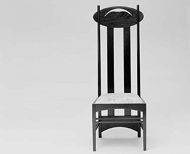 "MA54:   1897-89  |                                      Charles Rennie Mackintosh                                        Chair with frame in black lacquered ash. Seat upholstered in expanded foam covered in velvet, fabric or leather.  This chair was designed for Miss Cranston's Tea Rooms in Argyle Street, Glasgow. The high-backed chairs were placed around the tables in the centre of the room in order to create an intimate island. Although Mackintosh is unanimously considered one of the outstanding figures of Art Nouveau, in many aspects his work anticipates some themes of ""modernism"". It is no coincidence that Nicolas Pevsner includes him in his ""Pioneers of Modern Design"" (1936). Wylie Sypher in his ""From Rococo to Cubism"" (1960) specifies how both rococo and art nouveau were movements within the decorative arts that were integrated into architecture as well. In Mackintosh's interior designs, stylized lines and geometric forms reinforce an architectural dialog which from Art Nouveau onwards, with the progressive marginalisation of 19th century decorative syntax, mirrored the unification of interior design and architecture characterizing the modern movement."