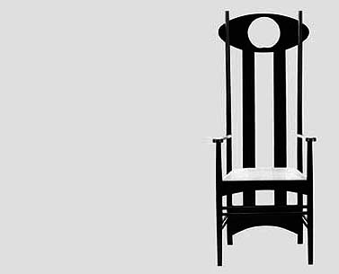 MA55:   1897-99  |                                      Charles Rennie Mackintosh                                           Armchair with frame in black lacquered ash. Seat upholstered in expanded foam covered in velvet, fabric or leather.   This model, probably previously exhibited at the London Arts and Crafts Exhibition of 1899, was definitely shown at the Vienna Secession in 1900, where it was bought by Koloman Moser. The oval head of the back contained a decorative panel made by the designer's wife, Margaret. A model without the decorative panel is in the collection of the Glasgow Art School.
