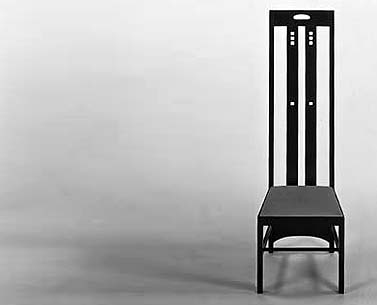 MA64:  1900  |                                      Charles Rennie Mackintosh                                       Chair with frame in black lacquered ash. Seat upholstered in expanded foam covered in velvet, fabric or leather.  This chair was designed for Miss Cranston's Tea Rooms in Ingram Street, Glasgow. The same chair would have been used the following year, in a lacquered version and with glass inserts, for the apartment in Mains Street.