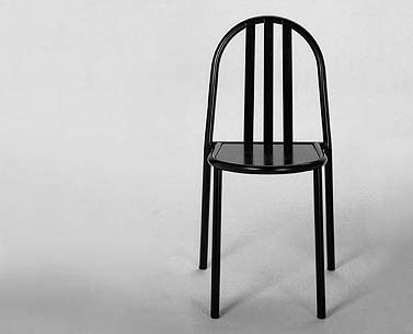 SV04:  1930  |                                      Robert Mallet Stevens        Stackable side chair with frame in epoxy enamel tubular steel in a variey of colors. Seat is epoxy enameled sheet metal.