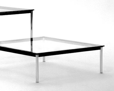 "CO49:  1927-1928  |                                        Le Corbusier                                        Square table. Frame in lacquered steel. Legs in chrome plated tubular steel. Available either  cm 37 (14.5"") or cm 72 (28.3"") high."