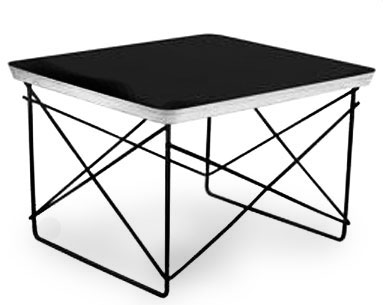 EA59:  1948-50  |                                      Charles Eames                                       Table with rectangular top in birch plywood covered with high pressure laminate. Black lacquered steel wire base.   Charles Eames used this wire-based table in his home at Pacific Palisades during a tea ceremony at which Isamu Noguchi and Charlie Chaplin were present, among the others. The table is characterized by the same base used for the large elliptical table of which it also uses the same material for the top.