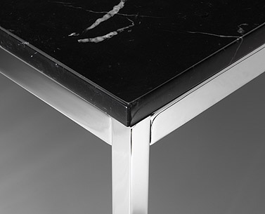 "FL19:  1954  |                                      Florence Knoll Schust                                      Square table. Frame in chrome   plated tubular steel. Glass or marble top.  As part of the ""lounge collection"" designed in 1954, the tables are characterized by the neat perimetric steel framework, which allow the use of different top materials and finishes."