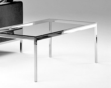 FL29:   1954  |                                      Florence Knoll Schust                                       Rectangular table. Frame in chrome   plated tubular steel. Glass or marble top.