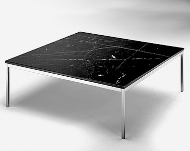FL39:  1954  |                                      Florence Knoll Schust                                      Square table. Frame in chrome   plated steel tube. Glass or marble top.