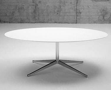 FL69-6: 1961  |                                      Florence Knoll Schust                         Table with four-star base in chromed steel shaped and tapered. Adjustable foot. Round top available in marble, lacquered MDF, laminate with visible birch plywood border or wooden veneered.