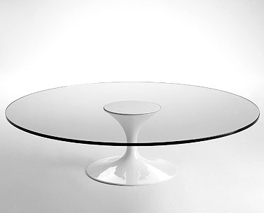 SA59-7: 1958  |                                      Eero Saarinen                                       Low table,base in cast aluminium lacquered black or white. Glass top 19mm. Steel slab lacquered black or white.