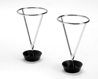 AU90:  1948  |                                      Carl Aubock                                      Umbrella stand with base in black lacquered metal fusion. Chromed drawn steel wire frame.