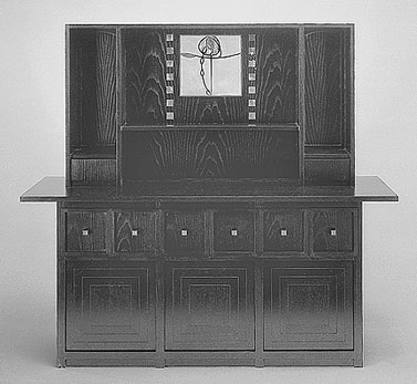 1918  |                                      Charles Rennie Mackintosh                                       Sideboard with frame in black lacquered ash with mother of pearl inserts and stained glass panel.