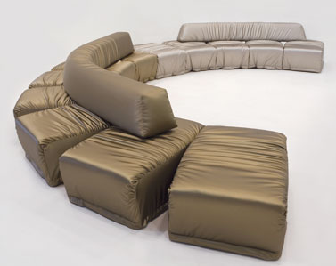 CHANGE 5-SEATS: 2010  |                                       Massimo Imparato                                           Change is an endless sectional seating system, with five seats.Wooden structure lined with foam, with cushions and backrest in different density foam and removable upholstery in leather or fabric.
