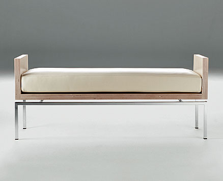 COMUNELLA:  2003  |                                       Danilo Marcone                                       Massimo Imparato                                      Ranieri  Massola                                       Bench with base in chrome square shaped steel tube; frame in natural Birchwood with visible plywood border. Removable cushion covered with leather.