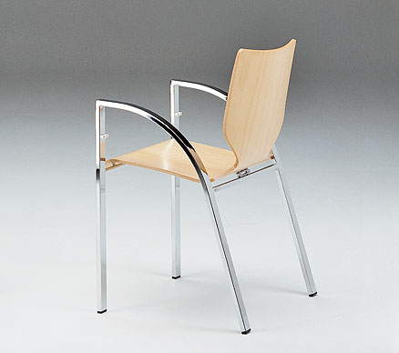 FROG:  1997  |                                       Massimo Imparato                                      Ranieri  Massola                                       Stacking chair with structure in lacquered or chromed calandered steel tube. Seat and back in curved and shaped plywood available in: natural or lacquered beechwood, cherrywood, rosewood, wengé.