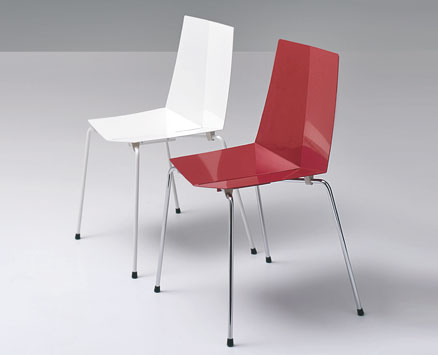 SISTER CHAIRS:   2009  |                                       Massimo Imparato                                      Enzo  Carbone                         Series of armchairs, chairs and stools with seat and back in lacquered electro-galvanized sheet available in a variety of colours. Chromed or lacquered steel base. Removable cushion.