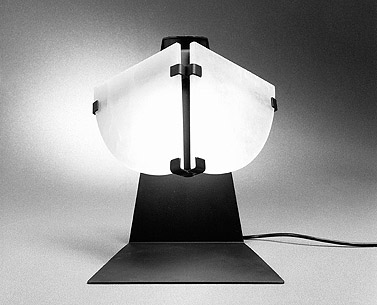 CH48:  1922-23  |                                      Pierre Chareau                 Table lamp with structure in burnished iron with transparent protective coating, shades made in alabaster. Max recommended 100w.