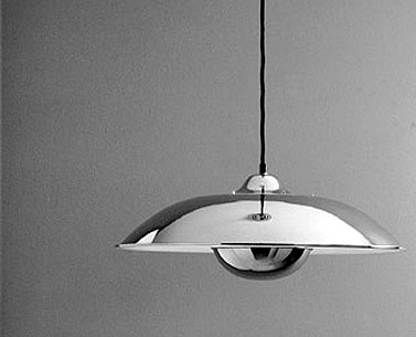 FO78:  1923  |                                      Mariano Fortuny                                      Ceiling lamp with shade and reflector in chrome-plated aluminium. Max recommended 150W.