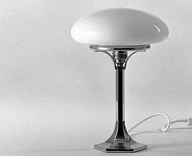HO18:  1933  |                                      Josef Hoffmann                 Table lamp with base in cast nickel plated brass. Shade in blown opaline glass. Max recommended 60w.