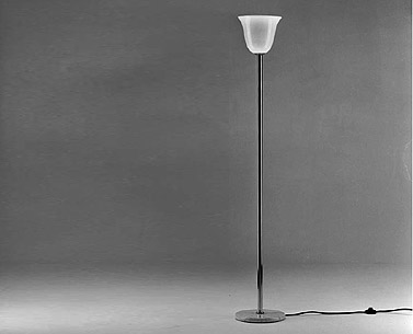 MU38-3:  1927  |                                       Eckart Muthesius                                       Floor lamp with base in white carrara marble, nichel-plated brass rod, shade in blown opaline glass. Max recommended 100w.