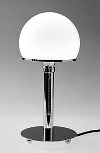WA38:  1924  |                                      Wilhelm Wagenfeld                                       Table lamp with baseand rod in chrome-plated brass, shade in blown glass. Max recommended 60w.