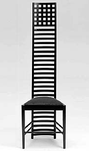 MA14:  1903  |                                      Charles Rennie Mackintosh                          Chair with frame in black lacquered ash. Seat upholstered in expanded foam covered in velvet, fabric or leather.  This chair was designed for the master bedroom of  Hill House, home of the publisher Walter W. Blackie, near Helensburgh in the Dunbartonshire area. The architectonic language of the building, where Mackintosh gave up all decorative elements of phytomorphous inspiration and was guided by a new functional and mathematical basis (Sypher), anticipates the themes of the research carried out at the Bauhaus. For this reason it is considered a proto-rationalist work.