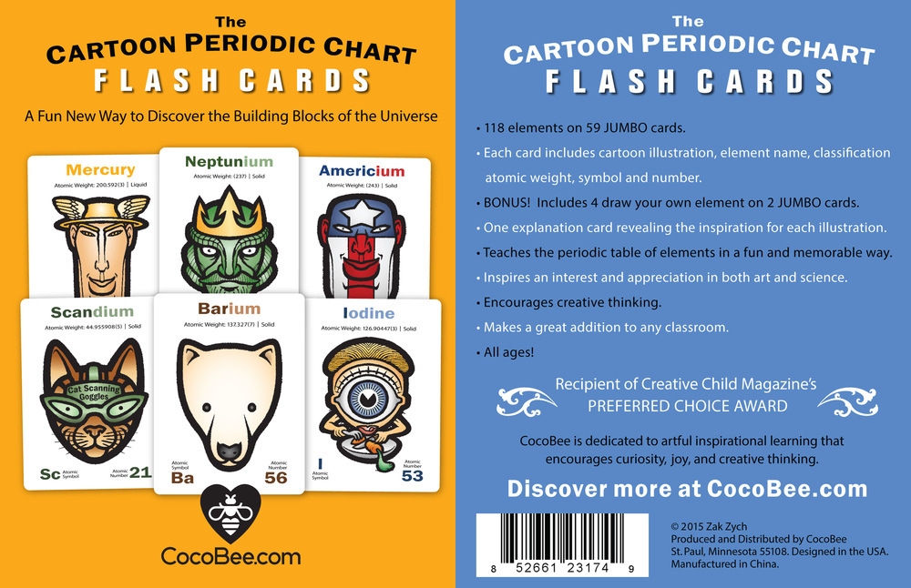 Cartoon Periodic Chart Flash Cards