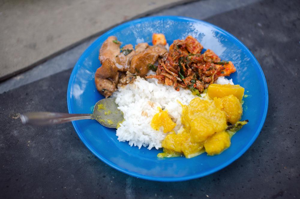 A trekker's feast in Myanmar.