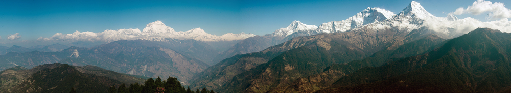 The Annapurna mountain range, as seen from the Deurali pass on the morning of my second day.