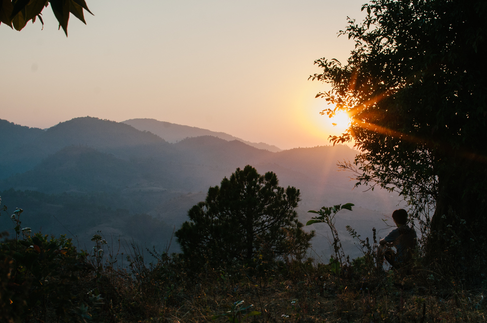 Jason watches the sun set over the Shan Hills in Myanmar.