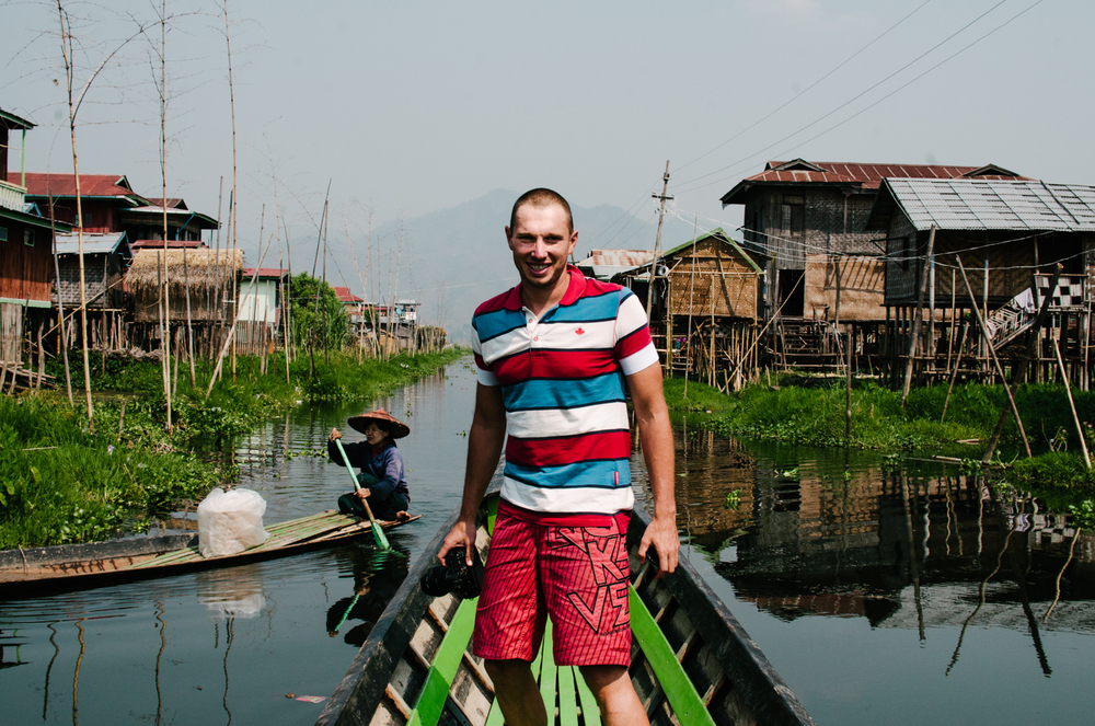 Thomas, another backpacker I met in Myanmar. We hired this boat to shoot photos of Inle Lake, Myanmar.